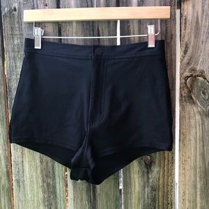 American apparel black disco shorts, sz M